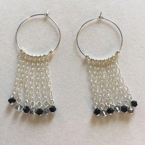 Silver plated hoop earrings w/Swarovski cr…